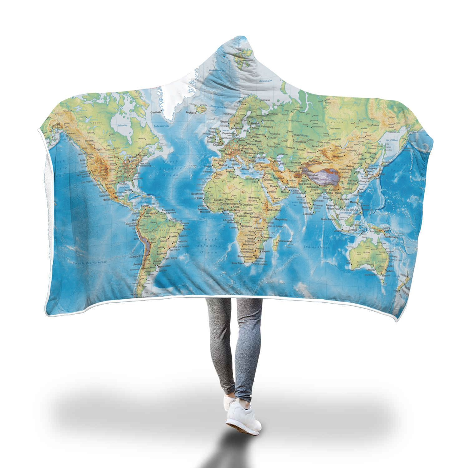Map Fleece Hooded Blanket Vivid 3D Print Map of The World Sherpa Throw Blanket Wearable Adult Home Warm Blankets