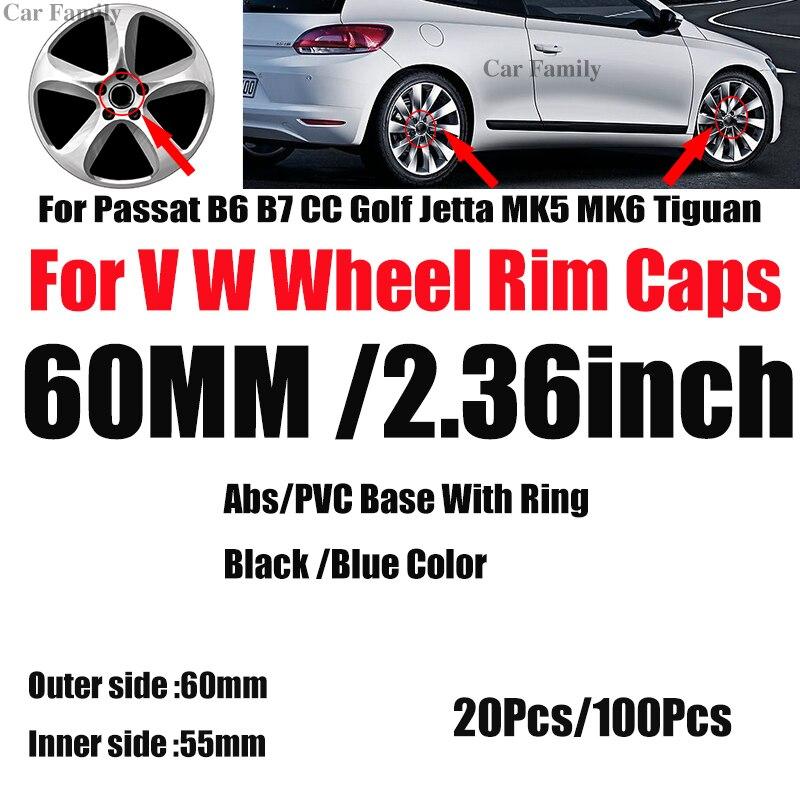Wholesale 20pcs 100pcs 60mm 2.36inch Auto Rims Hubcaps Covers For Passat B6 B7 CC Golf MK5 MK6 Tiguan Car Wheel Center Hub Caps