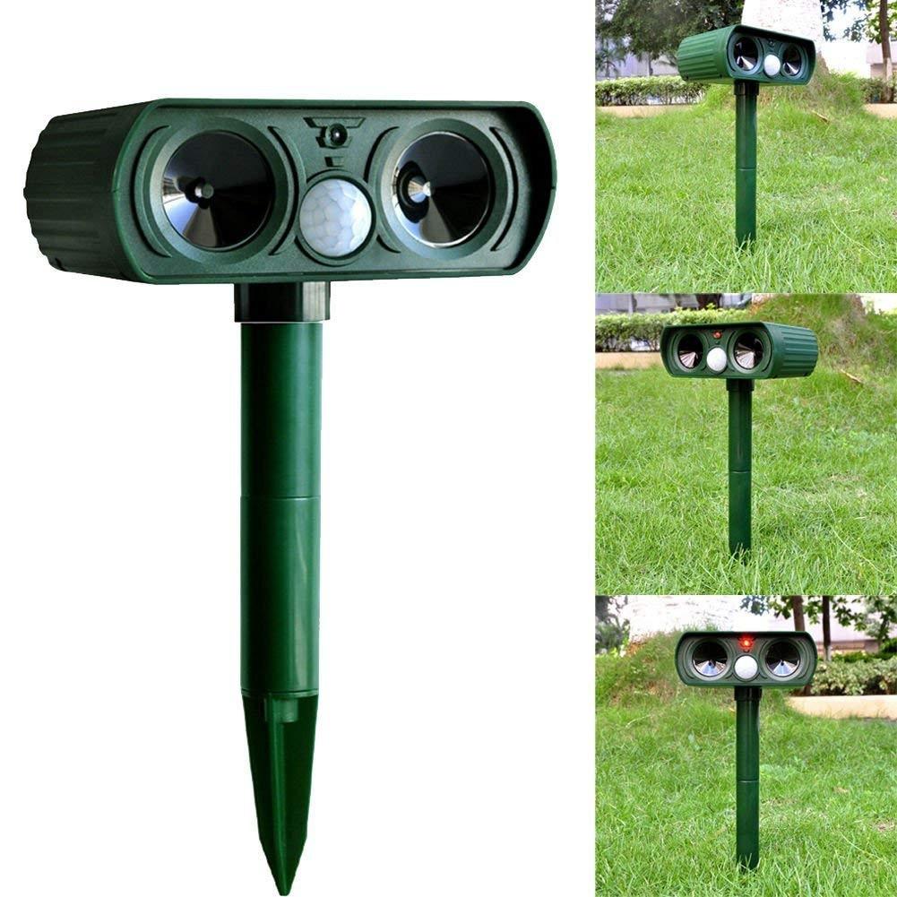 1PCS Solar Repellent Cat Dogs Bird Foxes Repeller Scarer Dual Ultra Deterrent Garden Animal Chaser Ultrasonic Sound Technology