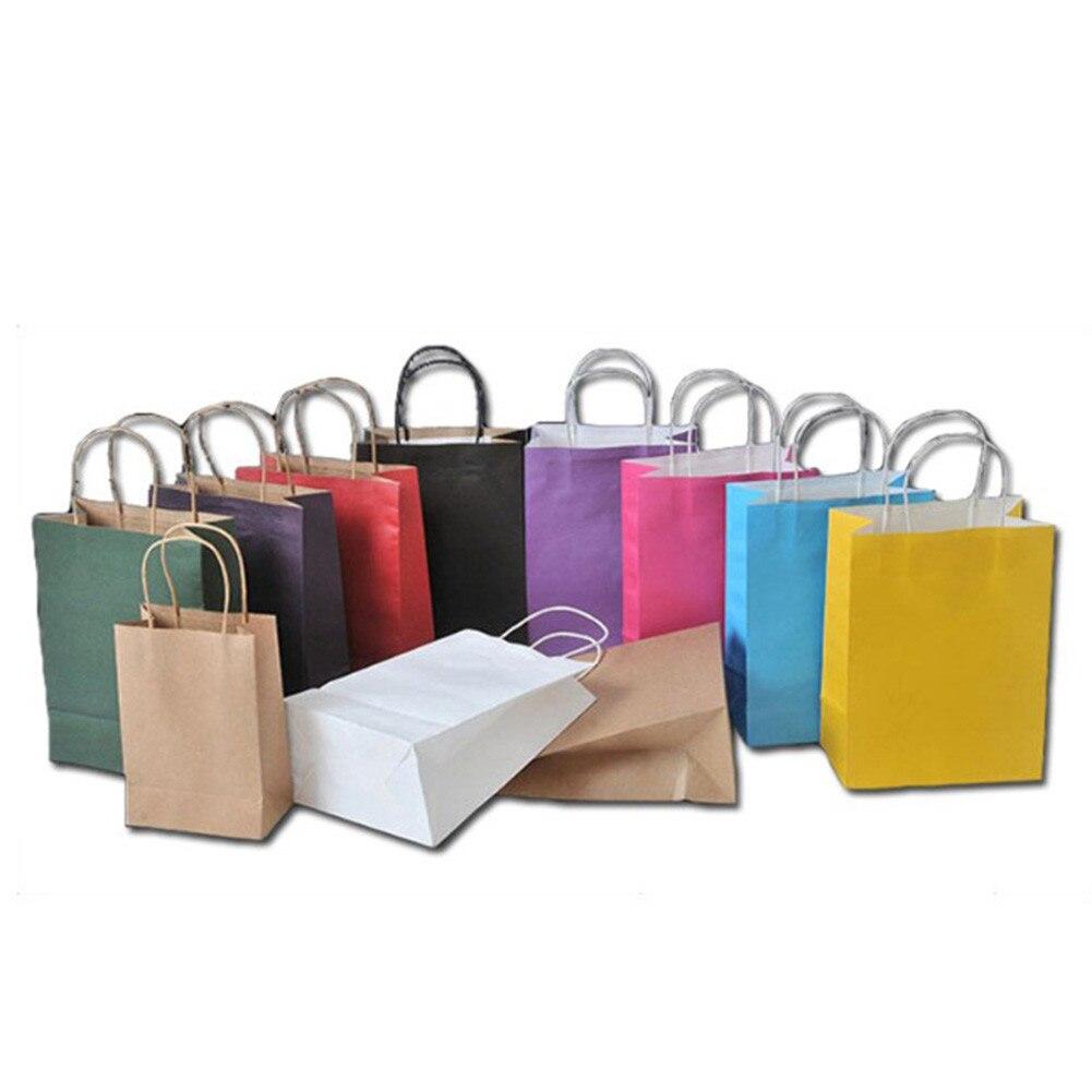 10 Farben Hochzeit Süßigkeiten Verpackung Recycelbar Schmuck Lebensmittel Brot Party Taschen Boutique Kraft Papier Geschenk Taschen