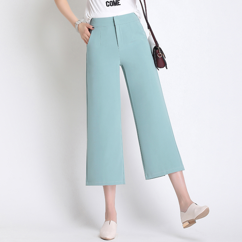 Chic High waist causal   pants     capris   women spring loose split wide leg   pants   female autumn   pants   streetwear trousers beige black
