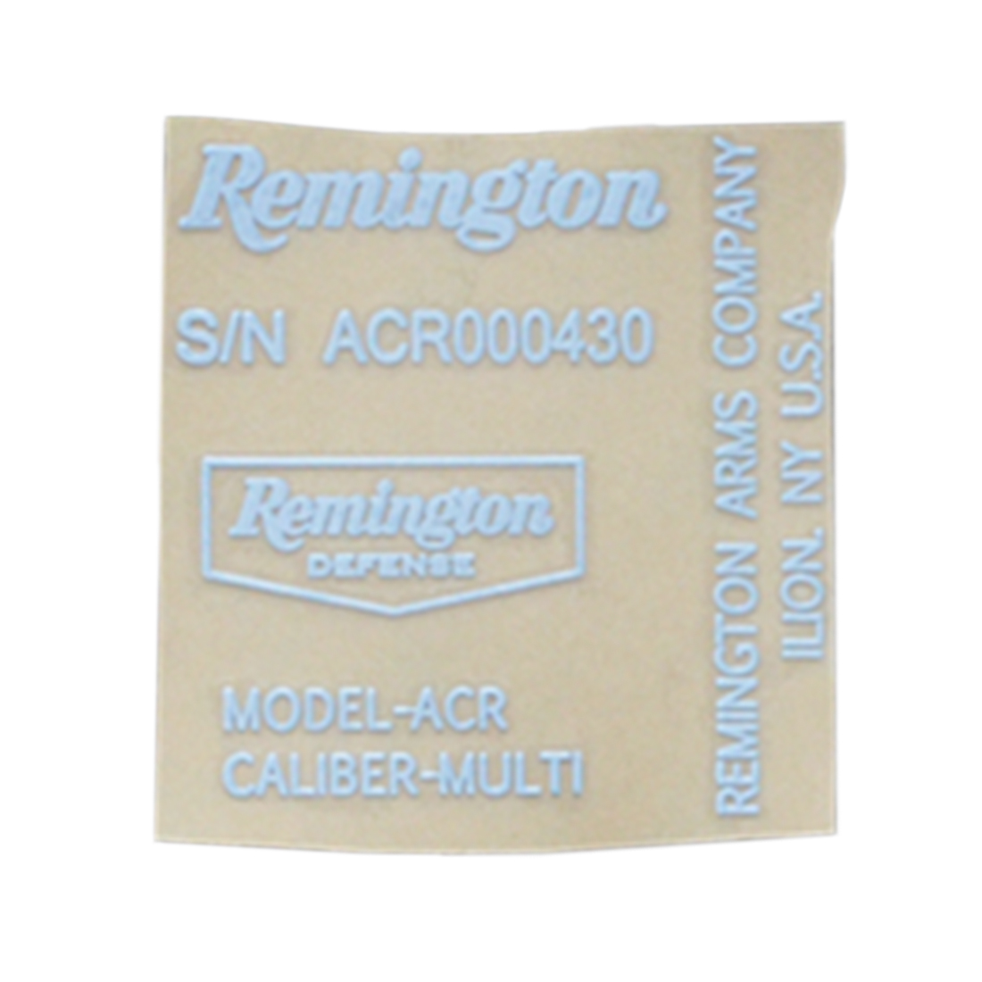 Remington ACR Sticker Metal Decals For ACR Blaster - White