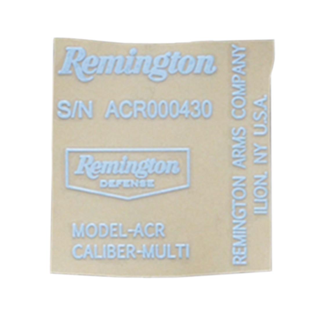 Remington ACR Sticker Metal Decals For ACR Blaster - White