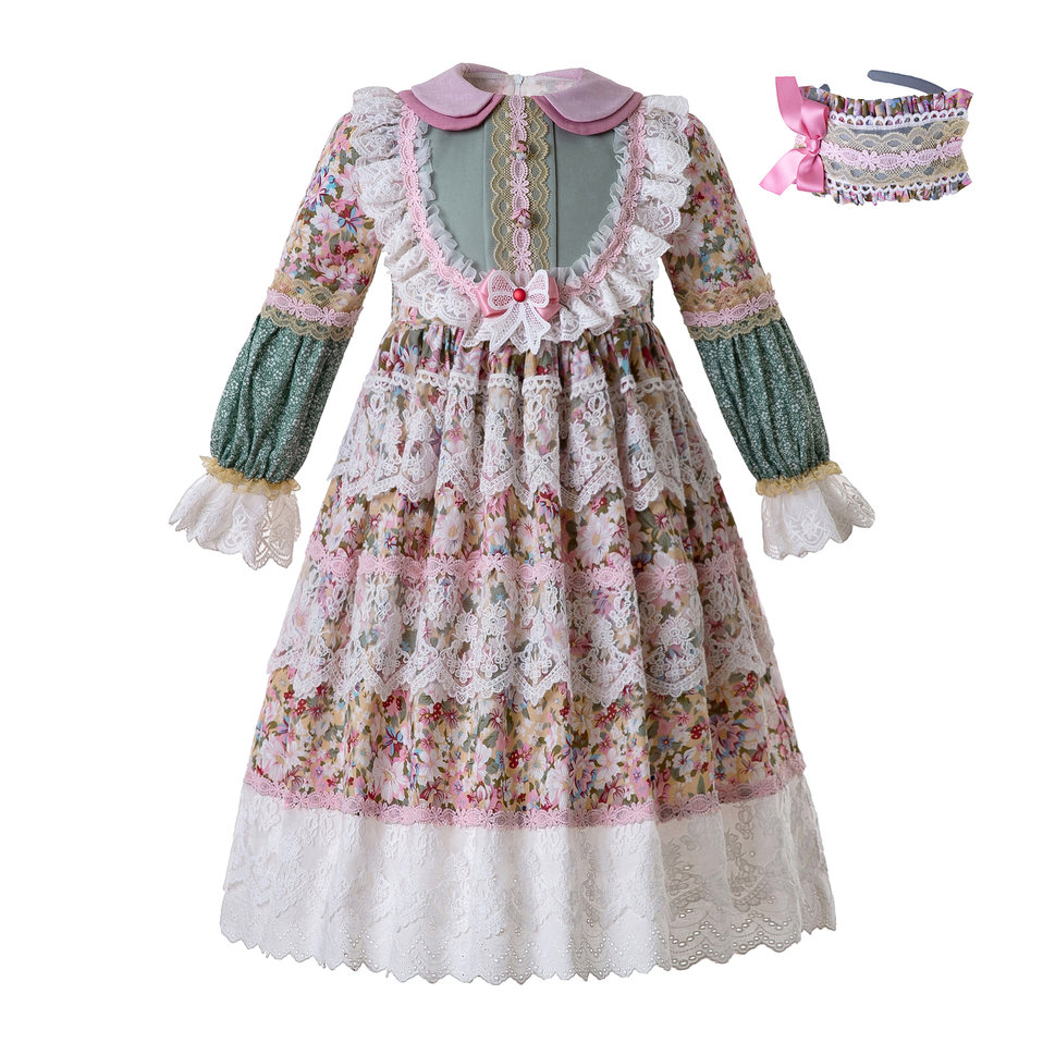 Pettigirl Muslin Girl Dress Flower Printed Dress For Girls With Lace Boutique Child Clothing Ankle Dress