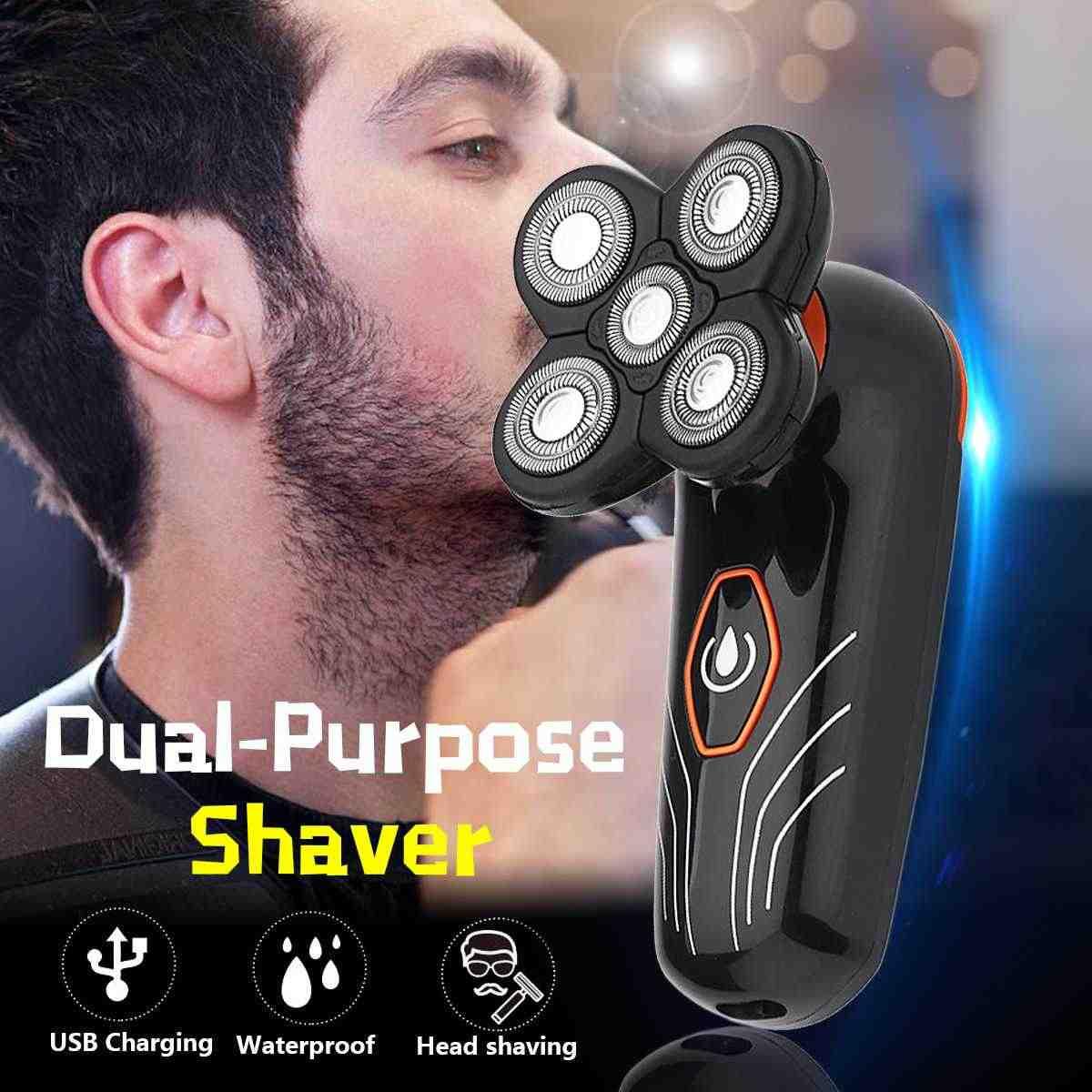 電気シェーバー 5 ヘッドフローティング刃シェーバー男性のひげトリマーはげヘッドかみそりウォッシャブル防水充電式バリカン