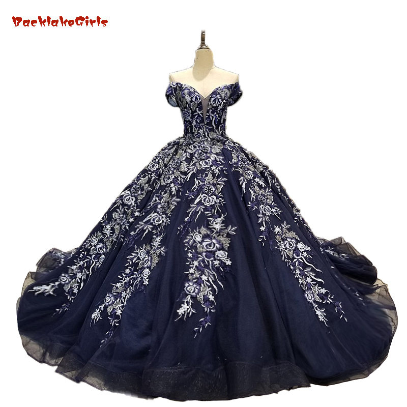 US $531.28 |Hot Sale Special Lace Design Wedding Dress Royal Blue Color  Bridal Gown Long Sleeves Wedding Gown Factory Directly Ball Gown-in Wedding  ...