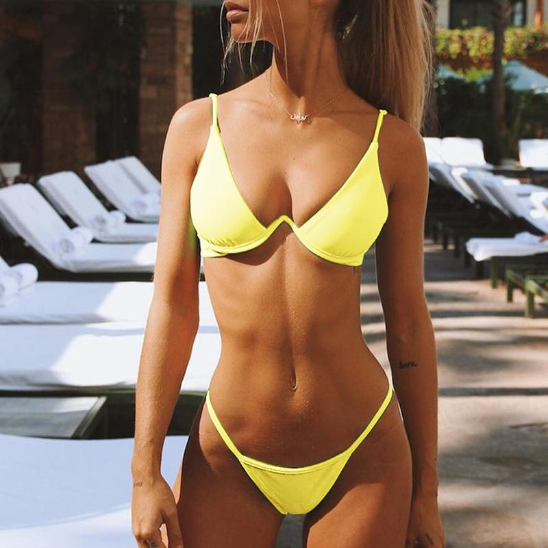 Aartiee String Bathing Suit Women Bathers Brazil Micro Bikini Set Push Up Swimsuit Separate Neon Swimwear Women 2019 Beach Wear