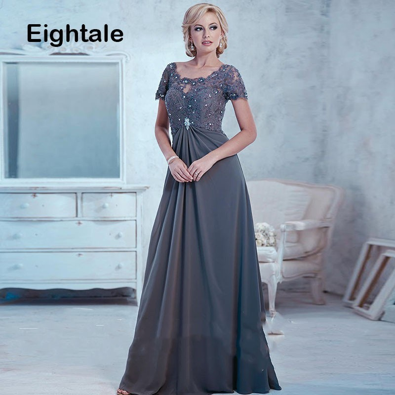 Eightale Mother of the Bride   Dresses   2019 Scoop Appliques Beaded Grey Long Chiffon ShortSleeve   Evening     Dress   for Party Gown