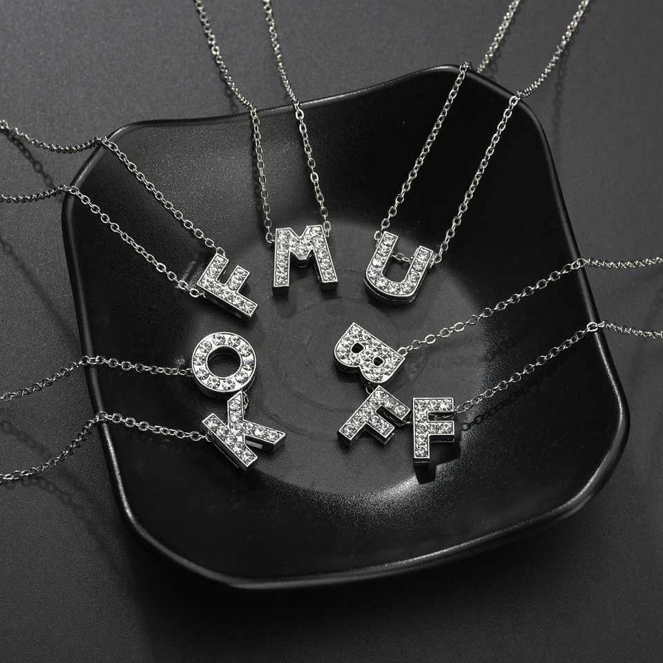 ที่ไม่ซ้ำกัน DIY Rhinestone A-Z จี้สร้อยคอจี้สำหรับผู้หญิงของขวัญครบรอบสำหรับคนรัก Handmade เงินเครื่องประดับ Choker