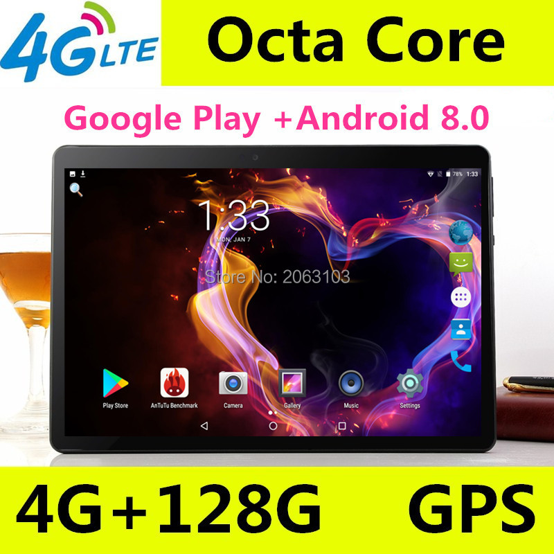 2019 Newest Google Play Store Android 8.0 10 Inch Octa Core Tablet 10.1 4GB RAM 128GB ROM Dual Cameras Tablet 10 Free Shipping