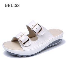 BELISS Summer Woman Slippers Platform Buckle Comfortable Leather Ladies Slides Open Toe Flat Women Casual Shoes S31