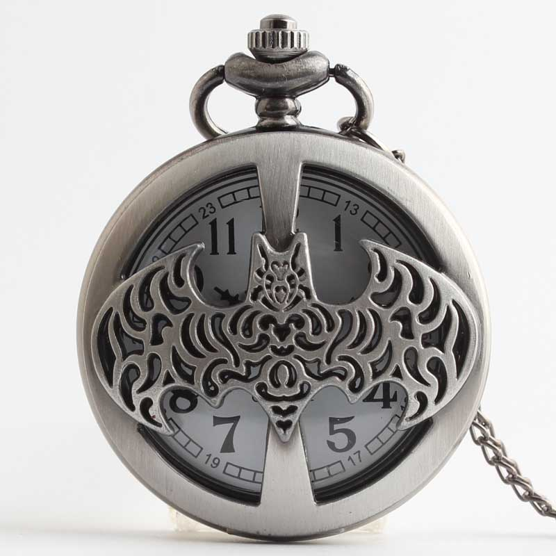 Pocket & Fob Watches  Dark Gray Steampunk Batman Pocket Watch Necklace Mens/Womens Jewelry Watch