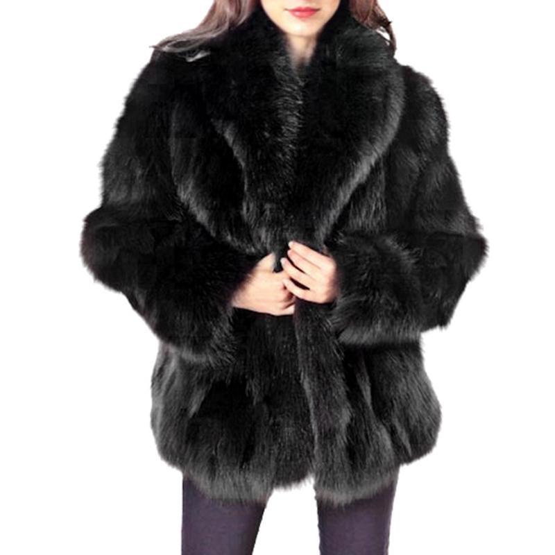2018 New Winter Coat Women Faux Fox Fur Coat Plus Size Women Stand Collar Long Sleeve Faux Fur Jacket Fur Gilet Fourrure