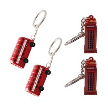 4pcs Key Ring Chain Phone Booth Keyring Double Deck Deck Bus Pendants Car Key Holder Keychain Ring Chain Holder For Gift Friends(China)