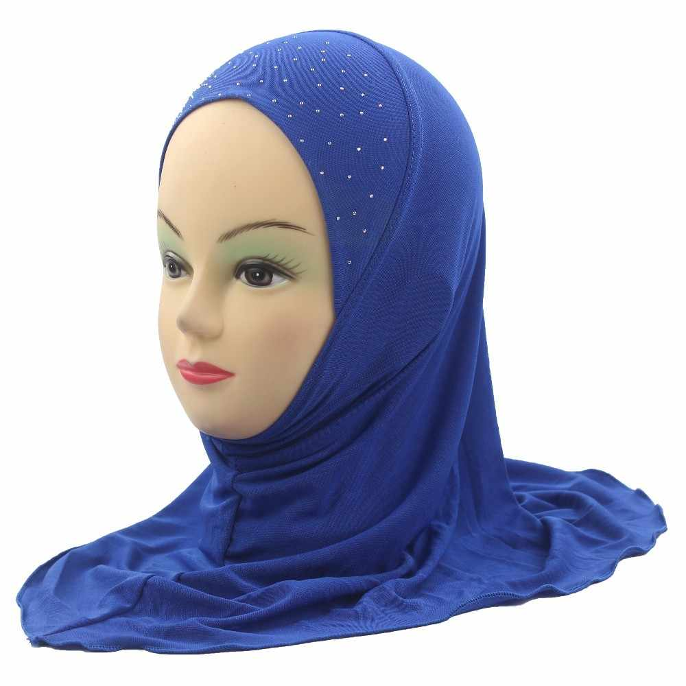 Kids Girls Muslim Beautiful Hijab Islamic Shawls Beautiful Drill Simple Style about 45cm for 2 to 7 years old Girls