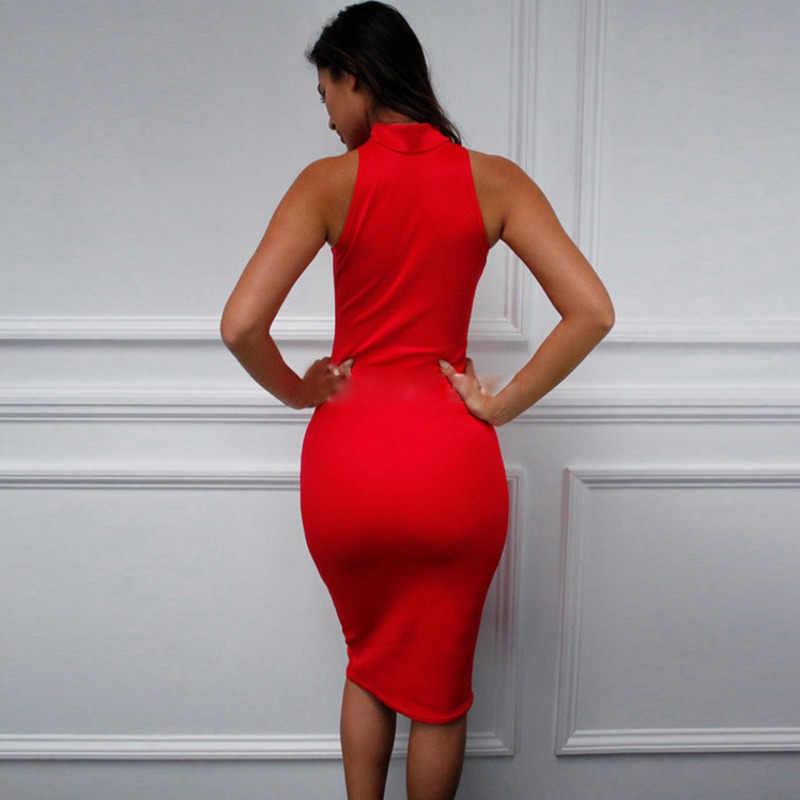 Винтажное миди прилегающее платье без рукавов Холтер сексуальное Клубное платье женские вечерние неоновые зеленые желтые красные белые черные синие Vestido 61