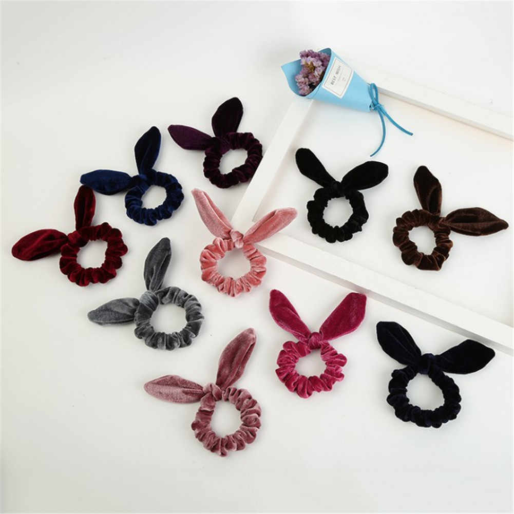 Free Shipping Women Girls Bunny Ears Scrunchie Hair Rope Velvet Hair Tie Bows Elastic Ponytail Holder Bands Hair Accessories
