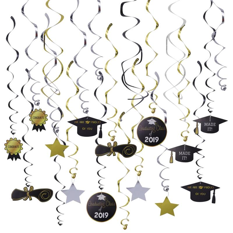 30pcs Party Swirls PVC Dangling Ornaments CLASS OF 2019 Decoration Spiral Decoration for Party30pcs Party Swirls PVC Dangling Ornaments CLASS OF 2019 Decoration Spiral Decoration for Party
