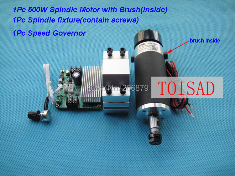 Free Shipping ER11 CNC Spindle 500W Air Cooled 0 5KW Milling Motor 12000rpm DC48V