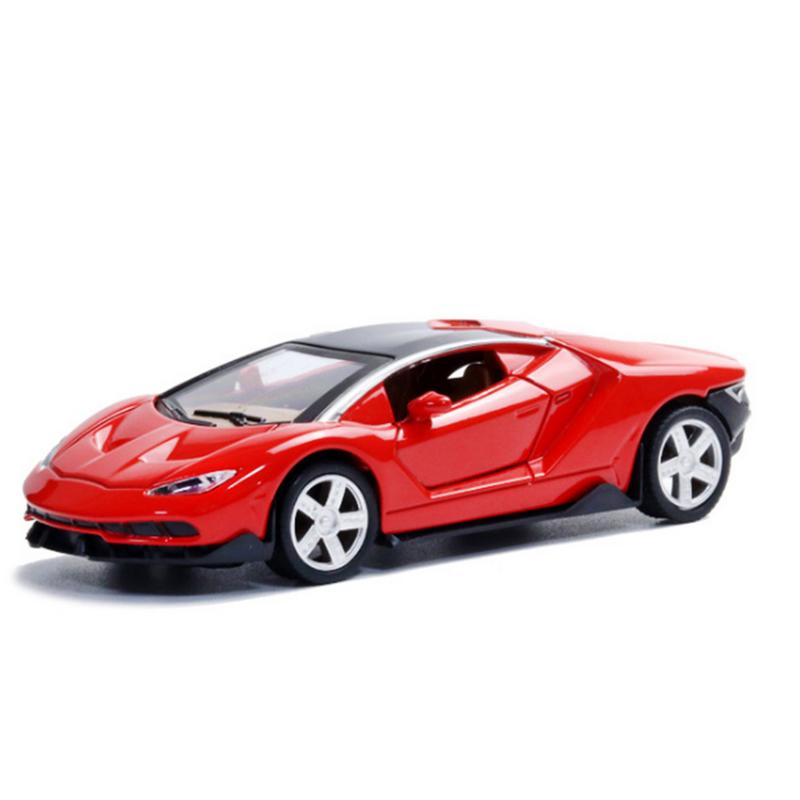 Toys & Hobbies Reliable Enjoy Childhood Ferraris Lamborghinis Scale 1:32 Alloy Sports Car Model Diecast Pull Back Door Toy For Children Hot Toy Car