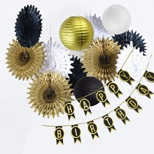 Birthday Party Decorations Adult Gold And Black Banner Supplies For 30th, 40th, 50th, 60th Decoration