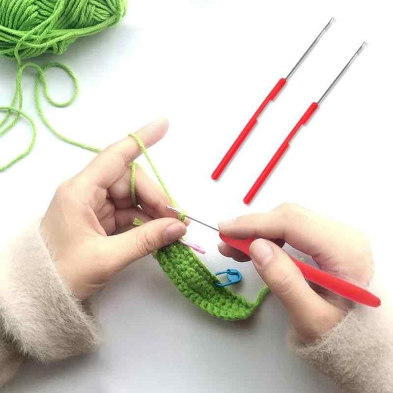 2 pçs plástico lidar com a língua agulha de costura crochê ganchos artesanato tecer malha ferramenta trança extensão do cabelo peruca artesanato accessaries