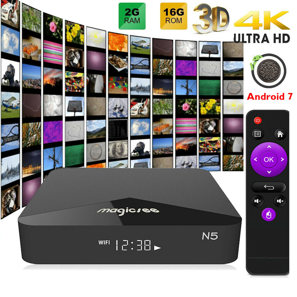 MAGICSEE N5 Android TV Box Android décodeur Amlogic S905X Quad Core 2 GB 16 GB 2.4G/5G double WiFi 4 K HD BT4.1