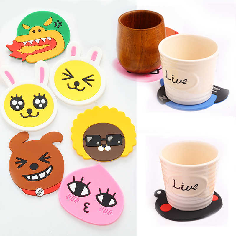 1 Pcs Cartoon Coaster Dining Table Drink Pads Silicone Cup Mat Hot