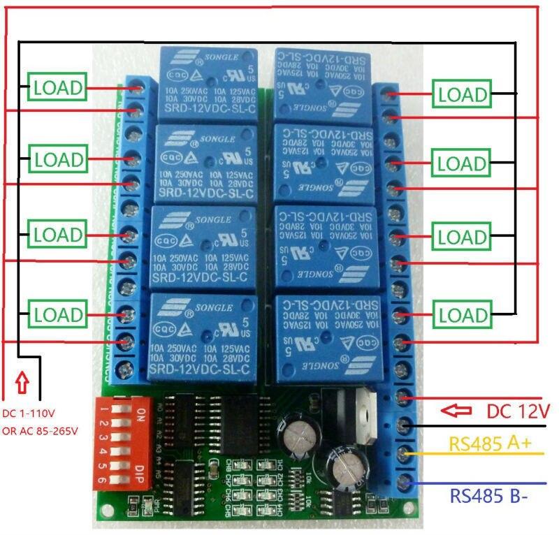 8CH DC 12V Modbus RTU RS485 Relay Module Switch Board for PLC Lamp LED PTZ Camera8CH DC 12V Modbus RTU RS485 Relay Module Switch Board for PLC Lamp LED PTZ Camera