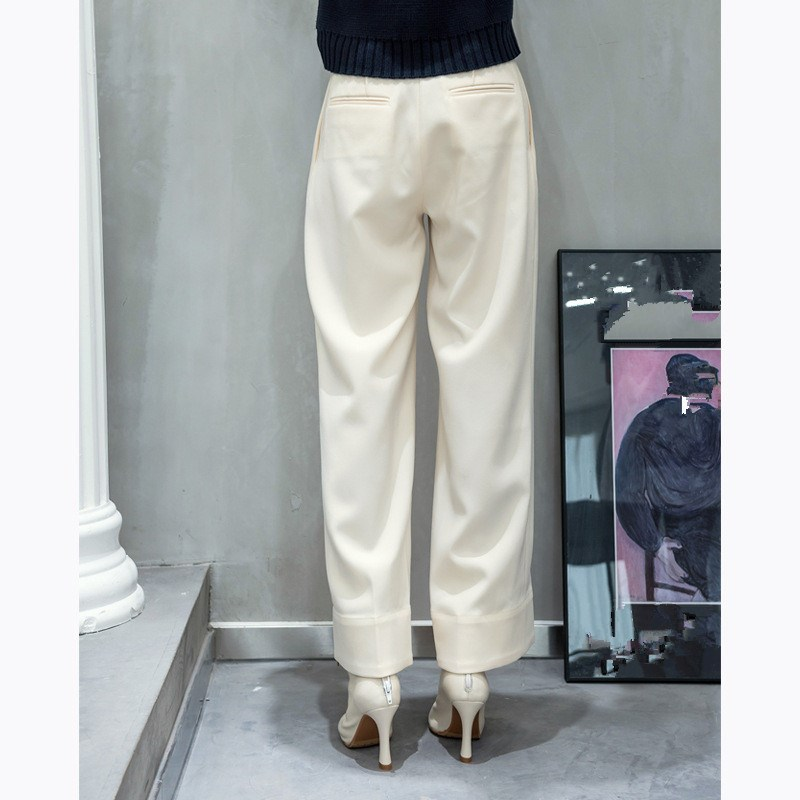 Nueva Ancha Mujer Beige Doble Pierna Pantalones Otoño Alta Casuales Breasted Patchwork Invierno Cintura Moda De Sueltos SwnSxPrY