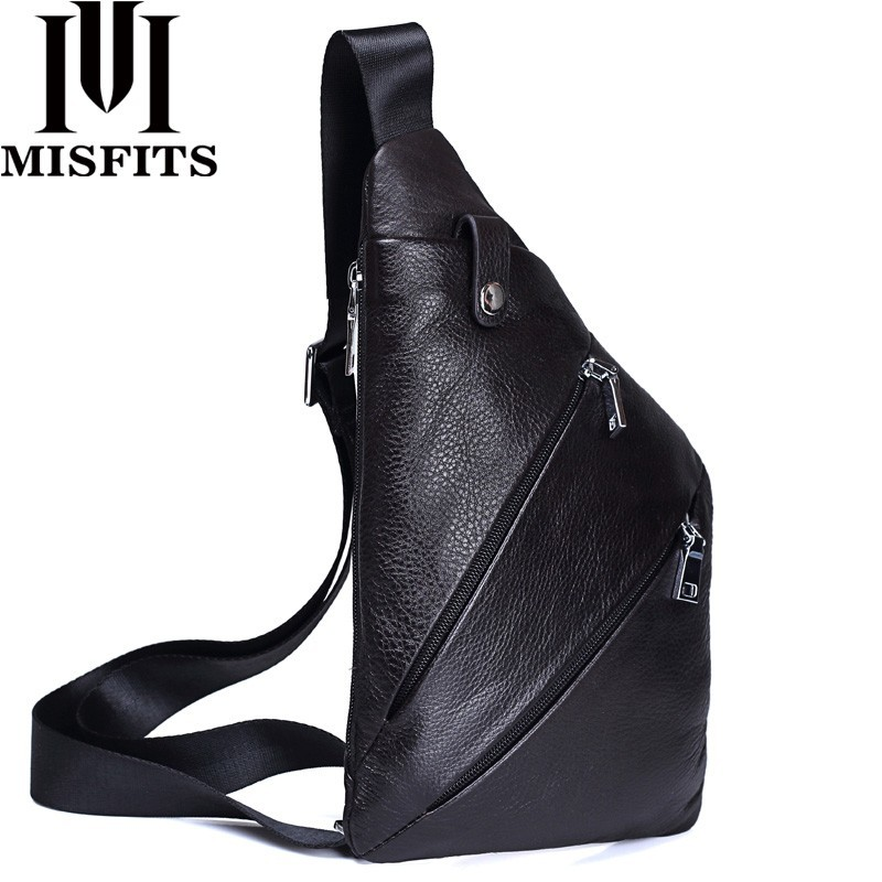 MISFITS NEW Genuine Leather Men Chest Bag Fashion Crossbody Bag Men Messenger Bags Cow Leather Travel Pack For Male Shoulder Bag стоимость