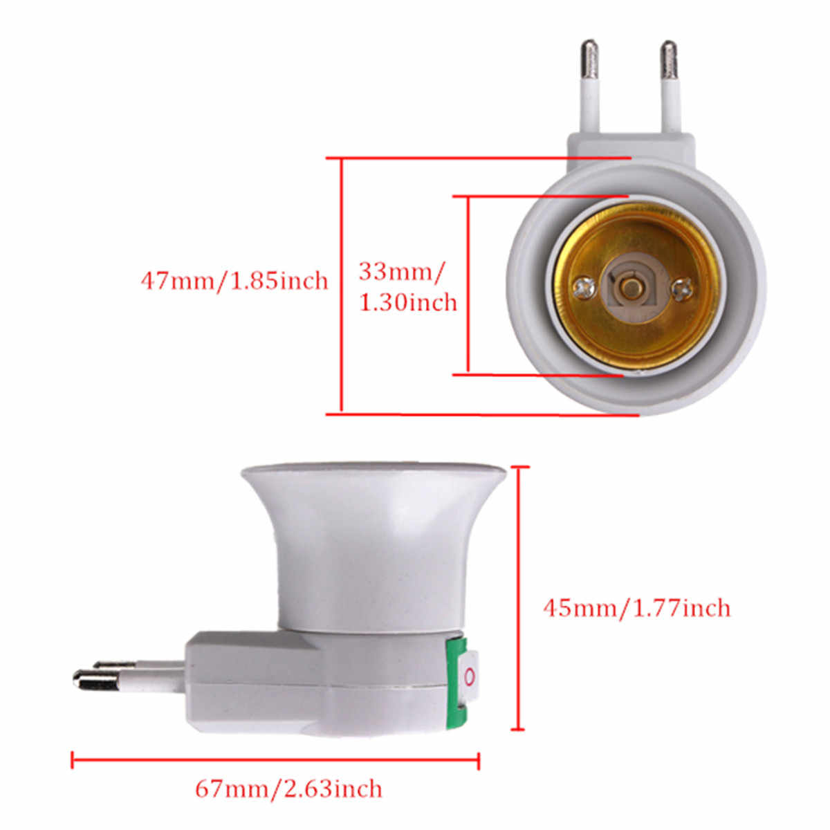 Hot E27 Lamp Base Socket 250V 6A White EU Plug Night Light With Power On Off Control Switch Light Base