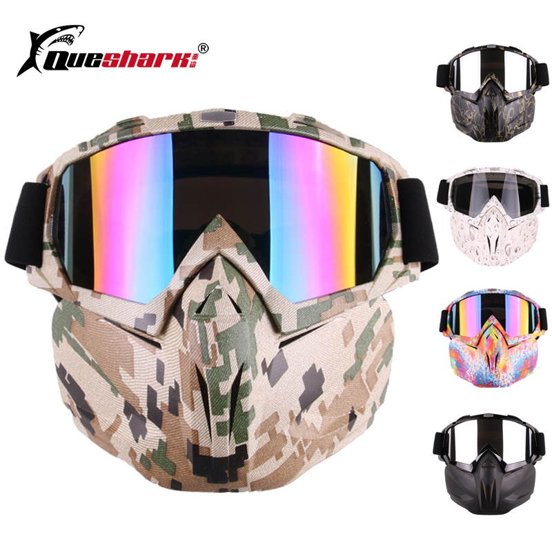 Queshark Removable Cycling Face Mask Dust proof Windproof Bicycle Goggles Snowboard Ski Mask with Anti UV Motorcycle Glasses|Skiing Eyewear| |  -