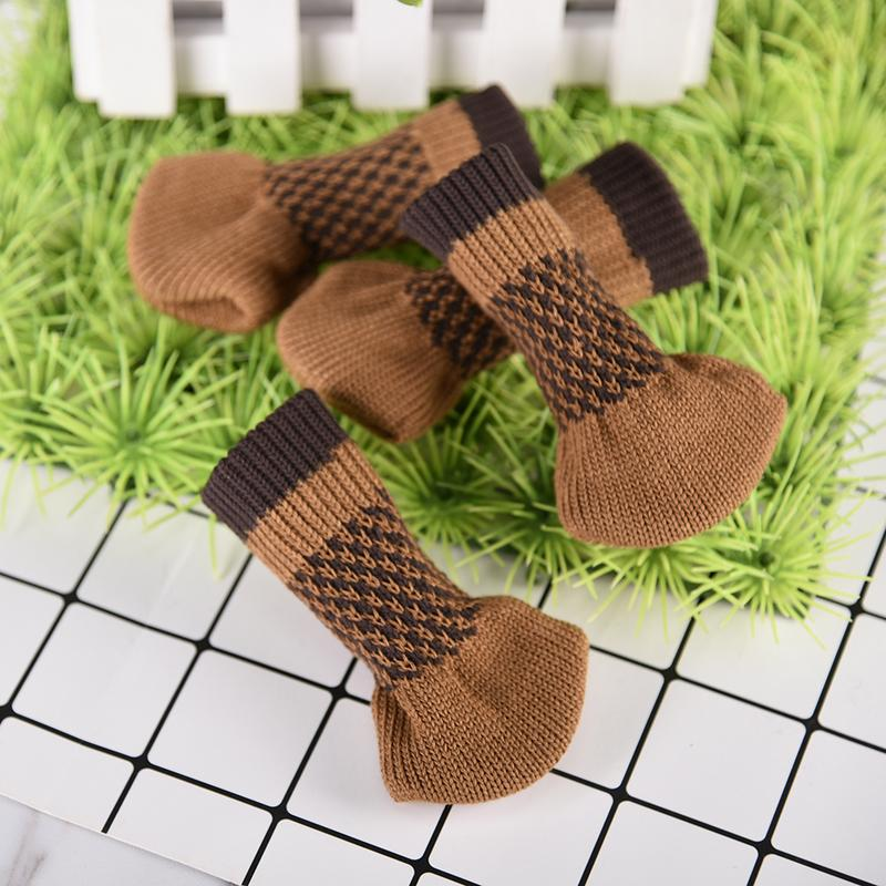 4PCS Knitted Protective Covers For Table And Chair Legs Anti-Skid Stool Mats