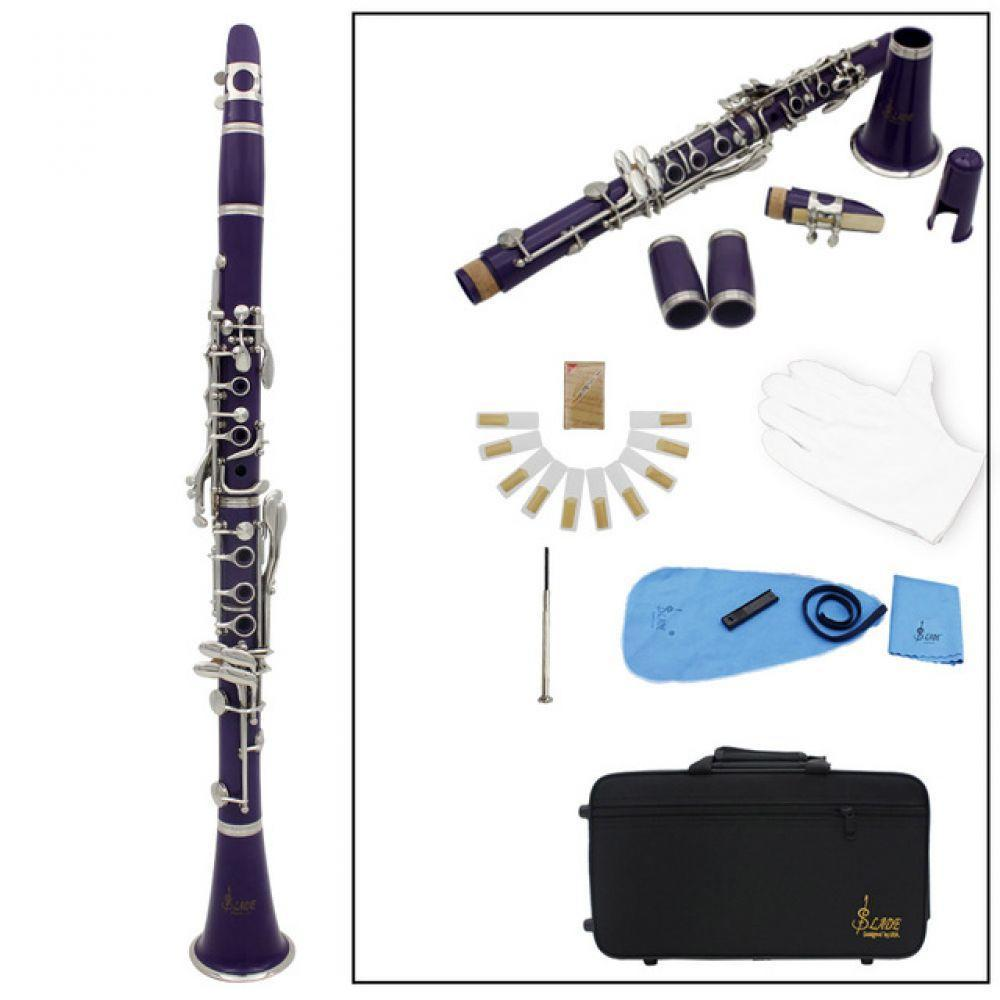 Clarinet ABS 17 Key bB  Flat Soprano Binocular Clarinet with Cleaning Cloth Gloves 10 Reeds Screwdriver Case Woodwind InstrumentClarinet ABS 17 Key bB  Flat Soprano Binocular Clarinet with Cleaning Cloth Gloves 10 Reeds Screwdriver Case Woodwind Instrument