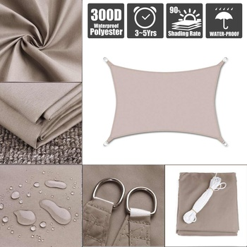 300D Waterproof Polyester Rectangle Awning Sun shading net Sun Shade Sail Outdoor Sun Shelter Khaki 1