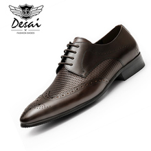 DESAI 2019 New Hollowing Mens Genuine Leather Shoes Business Dress Brogue Oxfords Men Formal Black Shoe EUR Size 37-44