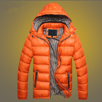 Winter Men's Hooded Down Jacket Outdoor Climbing Hiking Trekking Padded Clothes Male Keep Warm Cold Proof Working Overalls Coat