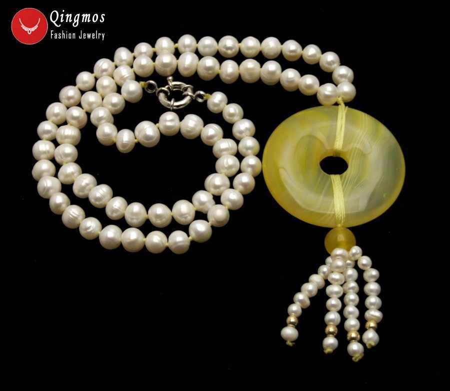 Qingmos Natural White Pearl Necklace para Mulheres com 6-7mm Rodada Pearl & 40mm Donuts Forma Amarelo ágatas Jóias Pingente de Colar