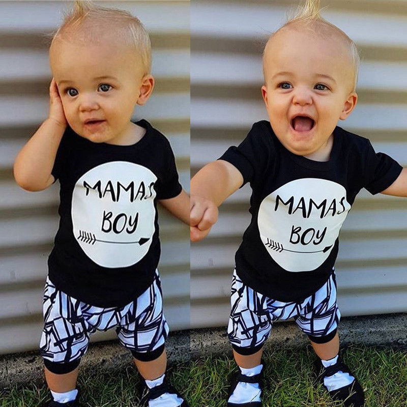 0-24 Months Baby Boys Clothes Set Black Letter Print Tshirt For Boys White Striped Pants Leggings Baby Boys Clothing Newborn Set 1