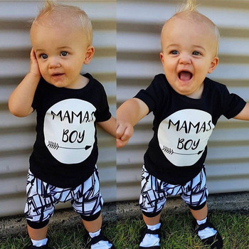 0-24M New Born Baby Clothes 2pcs Set Black Letter Print Tshirt For Boys White Stripe Pants Legging Baby Boys Clothes Newborn Set 1