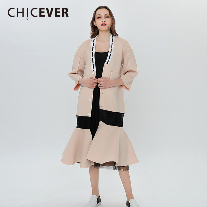 CHICEVER Winter   Trench   Coat Female Women's Windbreaker Long Sleeve Plus Size Overcoat Cardigan Clothes For Women Coats Fashion