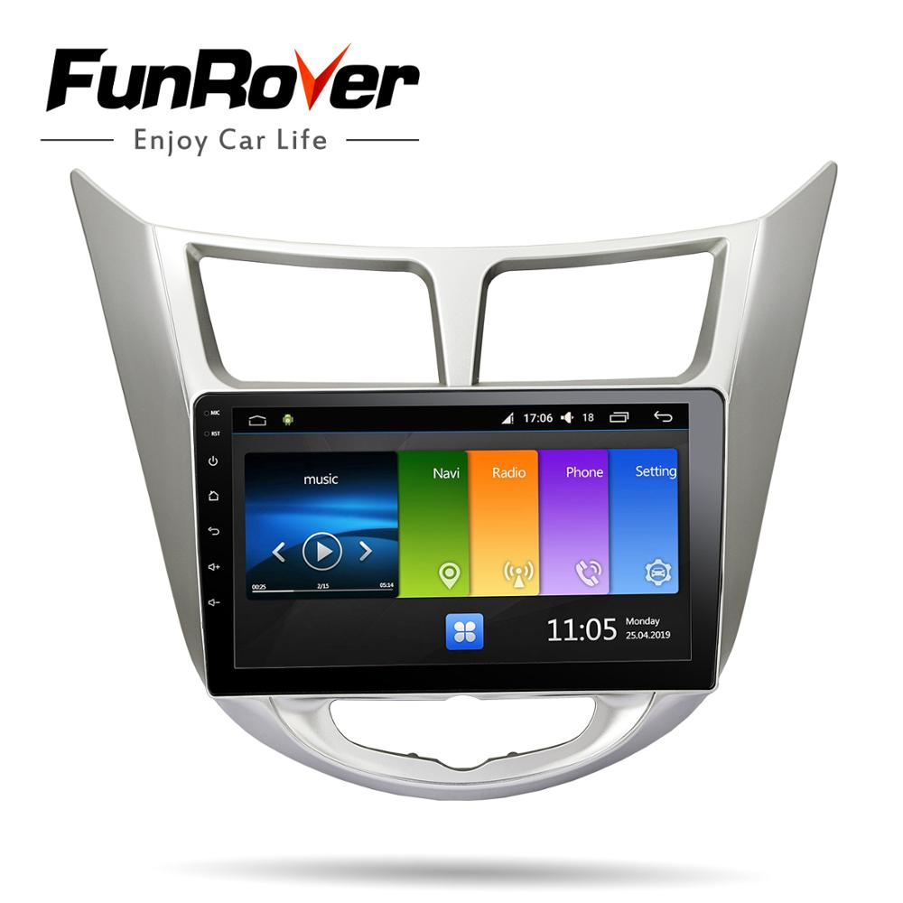 Perfect Funrover 2.5D+IPS android 9.0 Car Radio Multimedia Player dvd GPS Navigation For Hyundai Solaris Verna Accent i25 2010-2016 RDS 2