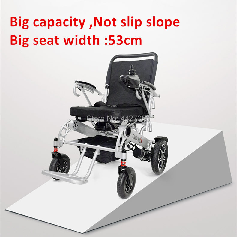 2019 Free shipping 530mm seat width Lightweight folding powered electric wheelchair with lithium battery
