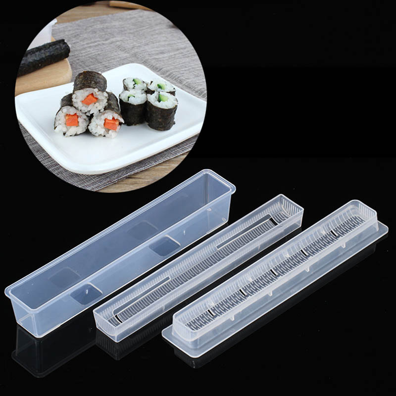 Portable Hand Maker Sushi Tools 3Pcs Non stick Kitchen Gadgets Cooking Accessories Roll Sushi Maker Rice Mold Sushi Maker Kit Sushi Tools     - title=