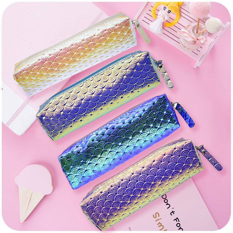 Mermaid Scale Pencil Case Laser Glitter Pencil Bag School Creative Pencilcase For Girls Gift  Kawaii Stationery Office Supplies