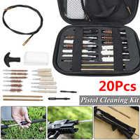 20 unids/set Kit de limpieza de pistola portátil Rifle cepillos para tamaño 22 357 38 40 44 45 9mm al aire libre herramienta de limpieza con Estuche de transporte