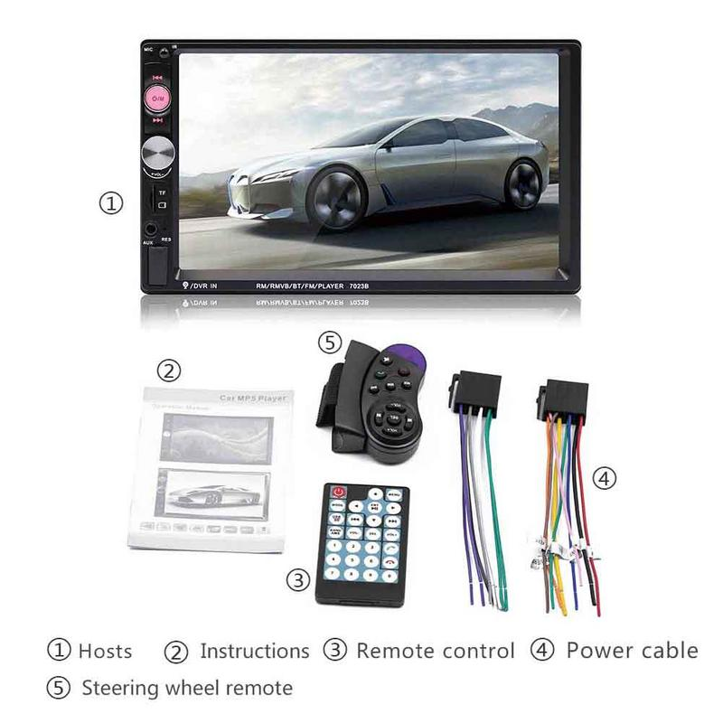 7inch HD Mp5 Portable Double 2 Car Stereo Audio Bluetooth Touch MP5 Player <font><b>USB</b></font> FM Radio <font><b>Receiver</b></font> image