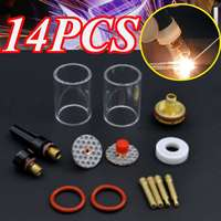 1Set 14Pcs TIG Welding Torch Stubby Gas Lens Glass Cup Kit For WP17/18/26 Series 2.4mm 3/32''
