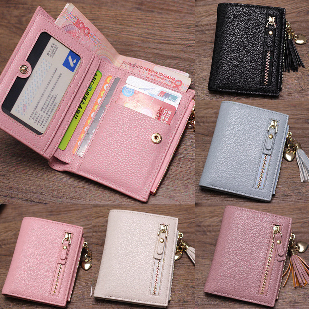 Women's PU Leather Wallet Fashion Short Solid Color Tassel Zipper Card Package
